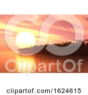 Poster, Art Print Of 3d Palm Tree Island At Sunset