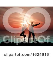 3D Sunset Ocean Landscape With Silhouette Of A Couple