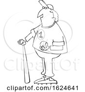 Cartoon Black And White Male Baseball Player With A Ball And Bat by djart