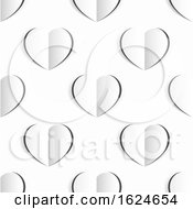 Poster, Art Print Of Valentines White Paper Heart Seamless Background