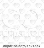 Poster, Art Print Of White Paper Heart Seamless Background Pattern