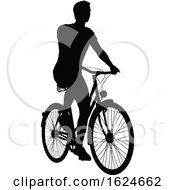 Bike Cyclist Riding Bicycle Silhouette by AtStockIllustration