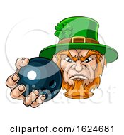 Leprechaun Holding Bowling Ball Sports Mascot by AtStockIllustration