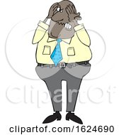 Cartoon Aggravated Black Business Man Grabbing His Face