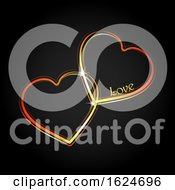 Poster, Art Print Of Interlocked Neon Love Hearts On Black
