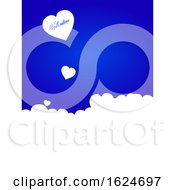 Valentine Blue Background With White Hearts And Text