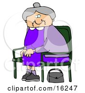 Old Lady With Gray Hair Wearing A Purple Dress And Sitting In A Chair With Her Purse On The Ground Clipart Illustration Graphic