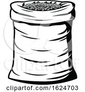 Black And White Sack Of Coffee Beans