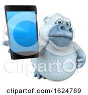 3d White Monkey Yeti On A White Background