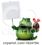 3d Green T Rex Dinosaur On A White Background