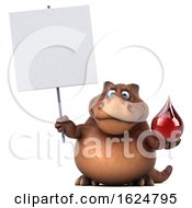 Poster, Art Print Of 3d Brown T Rex Dinosaur On A White Background