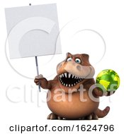 3d Brown T Rex Dinosaur On A White Background