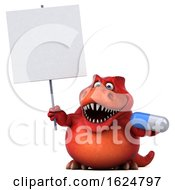 Poster, Art Print Of 3d Red T Rex Dinosaur On A White Background