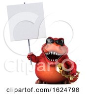 3d Red T Rex Dinosaur On A White Background