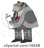 Latin Businessman Reading A Newspaper While Standing And Waiting Clipart Illustration Graphic by djart