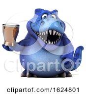 Poster, Art Print Of 3d Blue T Rex Dinosaur On A White Background