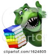 Poster, Art Print Of 3d Green T Rex Dinosaur On A White Background