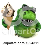 Poster, Art Print Of 3d Green T Rex Dinosaur On A White Background