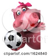 Poster, Art Print Of 3d Pink Henrietta Hippo On A White Background