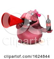 3d Pink Henrietta Hippo On A White Background