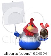 3d French Chicken On A White Background