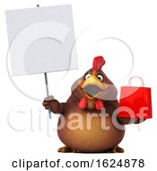 3d Brown Chicken On A White Background