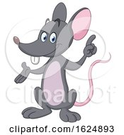 Cartoon Gray Mouse Presenting And Pointing