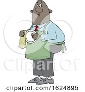 Cartoon Black Man Drying Dishes