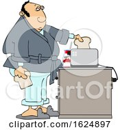 Cartoon White Man Putting Bread In A Toaster