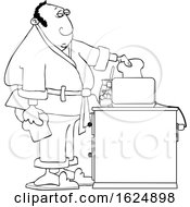 Cartoon Black And White Man Putting Bread In A Toaster