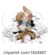Poster, Art Print Of Easter Bunny Rabbit In Shades Coming Through Wall