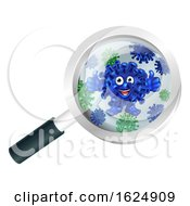 Bacteria Cartoon Mascot Under Magnifying Glass