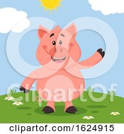 Happy Piggy Waving by Hit Toon