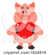 Poster, Art Print Of Happy Pig Holding A Valentine Love Heart