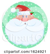 Christmas Santa Claus Face In A Green Snowy Circle
