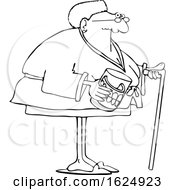 Cartoon Lineart Black Senior Woman With A Cane And Her Teeth In A Jar