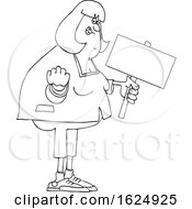 Cartoon Black And White Angry Chubby Woman Holding Out A Fist And A Sign