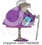 Cartoon Black Senior Woman With A Cane And Her Teeth In A Jar