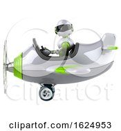 3d Green And White Robot Flying A Plane On A White Background