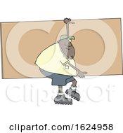 Cartoon Black Male Worker Carrying A Giant Board