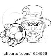 Poster, Art Print Of Leprechaun Holding Soccer Ball Sports Mascot
