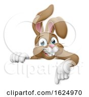 Poster, Art Print Of Easter Bunny Rabbit Pointing Cartoon At Sign