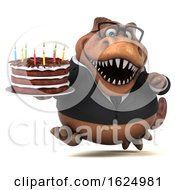 Poster, Art Print Of 3d Brown Business T Rex Dinosaur Holding A Birthday Cake On A White Background