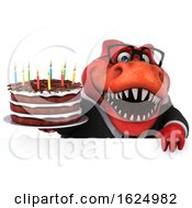 3d Red Business T Rex Dinosaur Holding A Birthday Cake On A White Background