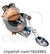 Poster, Art Print Of 3d Brown Business T Rex Dinosaur Biker Riding A Chopper Motorcycle On A White Background