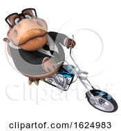 3d Brown Business T Rex Dinosaur Biker Riding A Chopper Motorcycle On A White Background