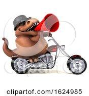 Poster, Art Print Of 3d Brown T Rex Dinosaur Biker Riding A Chopper Motorcycle On A White Background