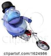 Poster, Art Print Of 3d Blue T Rex Dinosaur Biker Riding A Chopper Motorcycle On A White Background