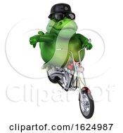 Poster, Art Print Of 3d Green T Rex Dinosaur Biker Riding A Chopper Motorcycle On A White Background