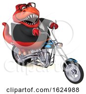 Poster, Art Print Of 3d Red Business T Rex Dinosaur Biker Riding A Chopper Motorcycle On A White Background